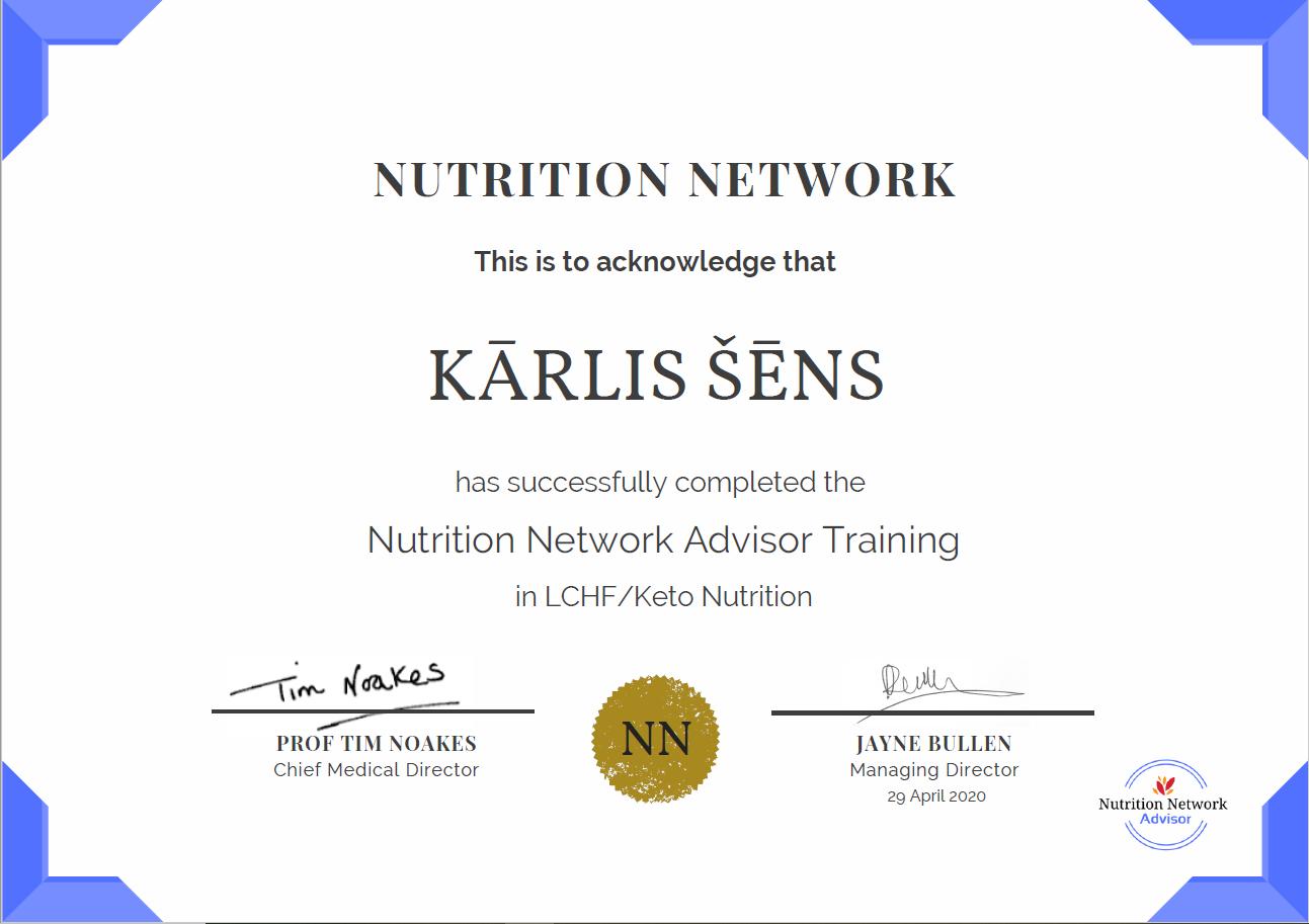 Kārlis Šēns sertificēts uztura treneris